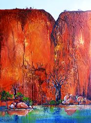 Catherine Gorge, acrylic and collage on Linen, by Metka Skrobar